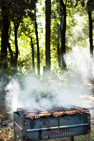 grilling steaks on a charcoal barbecue grill