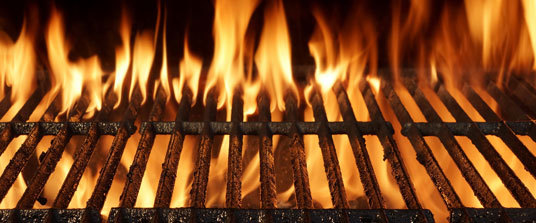 barbecue grill flames