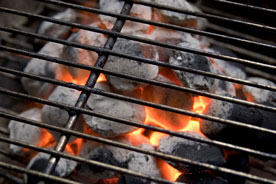 charcoal burning in a barbecue grill