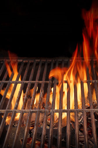 hot bbq grill and burning fire